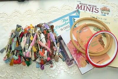 Embroidery, Cross Stitch Threads Over 100 Plus Books & Frames, Extras - Bulk Lot