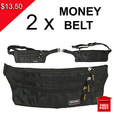 2 x Money Belt travel bag secure waist zip