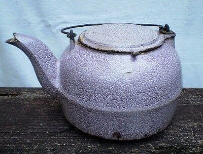 Antique Cast Iron Mottled Granite Ware Stove Top Kettle-Griswold?-1800's