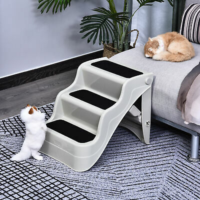 PawHut Portable 3 Steps Ramp Stair Ladder for Pets, Dog in Cream White Nonslip