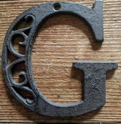 Cast Iron LETTER G Scroll Rustic Brown Metal Alphabet Signs Vintage/Rustic Style