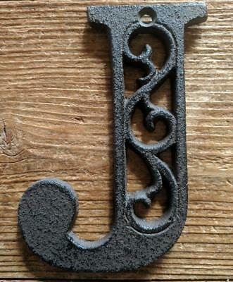 Cast Iron LETTER J Scroll Rustic Brown Metal Alphabet Signs Vintage/Rustic Style