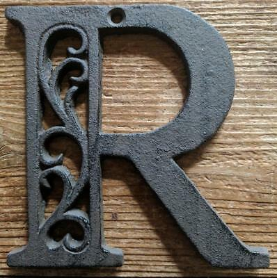 Cast Iron LETTER R Scroll Rustic Brown Metal Alphabet Signs Vintage/Rustic Style