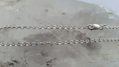 925 Italian made Solid 925 Sterling Silver 2mm belcher link chain 45cm