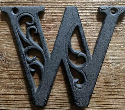Cast Iron LETTER W Scroll Rustic Brown Metal Alphabet Signs Vintage/Rustic Style