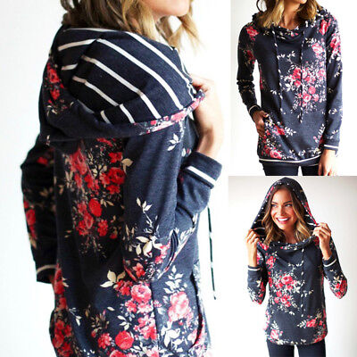 Womens Long Sleeve Hoodie Sweatshirt Jumper Hooded Pullover Tops Blouse Coat