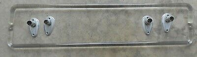 "2 Vintage 24"" Bent Curved Glass Clear Towel Bar Tear Drop Bracket Art Deco"