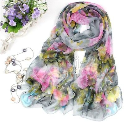 New Fashion Women's Gray Flower Print Long Soft Chiffon Scarf Wrap Shawl Stole