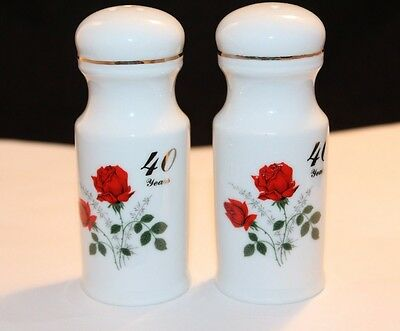 Royal Ann Fine China Minneapolis, MN 40 Years Red Rose Salt & Pepper Shakers