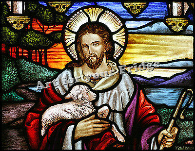 """FRIDGE MAGNET - JESUS THE GOOD SHEPHERD #1 STAINED GLASS REPRODUCTION- 3.5""""x4.5"""""""