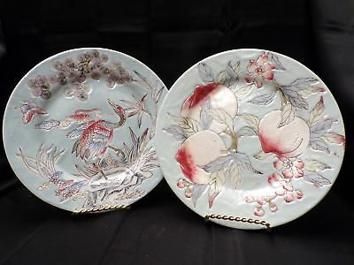 """Pair of 7"""" Asian Japanese Chinese Decorative Collector Stoneware Vintage Plates"""
