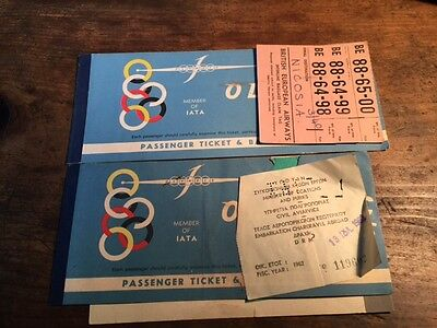 2 x OLYMPIC AIRWAYS TICKETS 1962