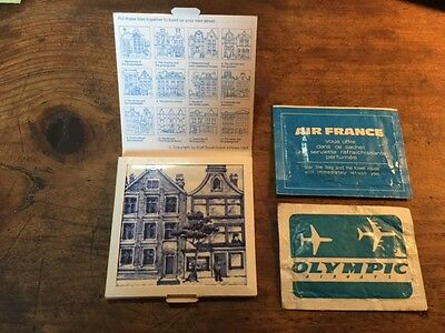 3 X Vintage Klm, Olympic Airways, Air France Gifts & Wet Tissues