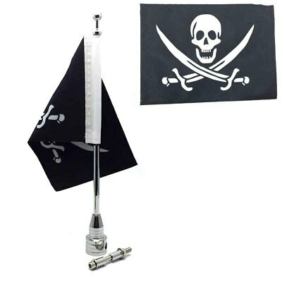 Silver Motorcycle Custom Rear Luggage Rack Mount Pole with Pirate Flag Harley