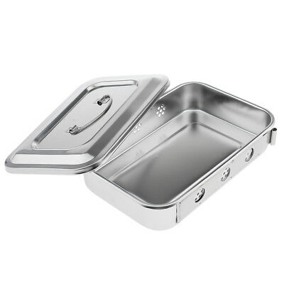 9'' Stainless Tools Hole Box Tray Holder Case Lid Storage Medical Instrument