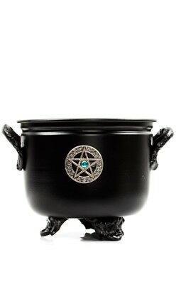 Gothic Goth Pagan Wicca Pentacle Small Metal Cauldron Incense Witch