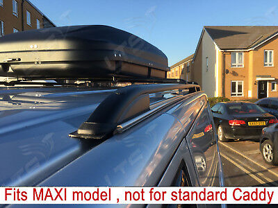 Vw Caddy Maxi Roof Rail Bars + Lockable Black Cross Bars 75 Kg 2010 Onwards