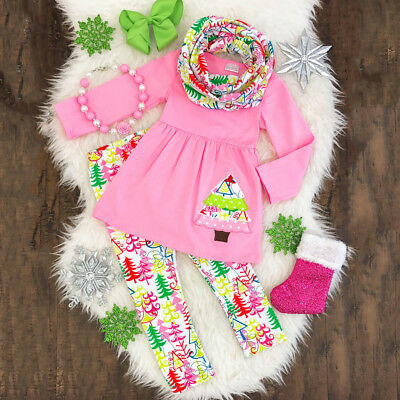 Christmas Tree Kids Baby Girls Clothes Outfits T-shirt Top Dress+Pants Leggings