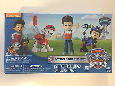 NEW Nickelodeon Paw Patrol Action Pack Pup Set 3-Pack: Ryder, Chase & Marshall
