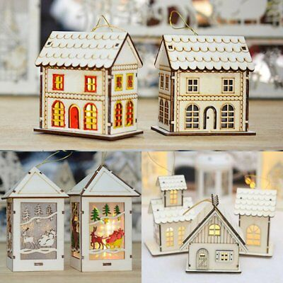 Merry Christmas LED Light Wooden House Tree Hanging Ornament Xmas Decor Kid Gift