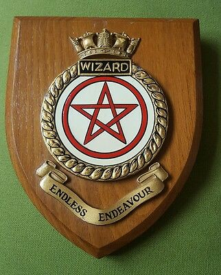 Vintage HMS WIZARD ROYAL NAVY SHIP Plaque Wall Shield Hand Painted