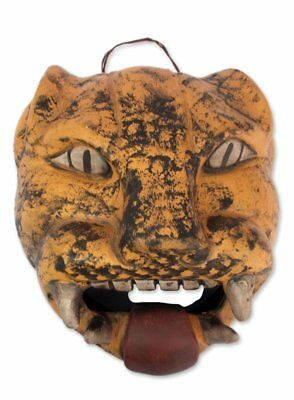 Novica Mexican Handcrafted Ceramic Fierce Wild Cat Mask Wall Decor