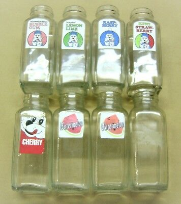 8 VINTAGE Syrup SLUSH PUPPIE GLASS BOTTLES Jars