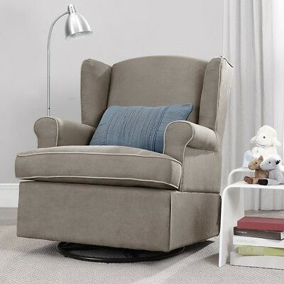 Taupe Swivel Glider Chair Nursery Furniture Baby Relax Gliding Chairs Childrens