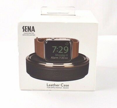 GENUINE SENA Handcrafted Genuine Leather Case for Apple Watch - BLACK - 487CL