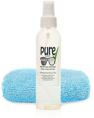 GLASSES & LENS CLEANER Kit 150ml by Pure Organics. Eco-Friendly Ingredients