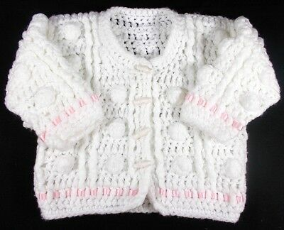 Baby girl cardigan jacket white pink knitted 12 month