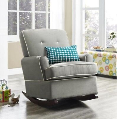 Gray Rocker Rocking Chairs Nursery Baby Relax Arm Chair Furniture Armchair Grey
