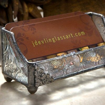Business Card Holder Vintage Retro Classic Style Glass Metal Desk Decor Women