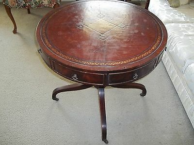 Vintage Drum Table With Brown Leather Inlay