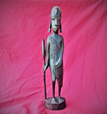 Antique African Hand Carved Wooden Warrior Figure