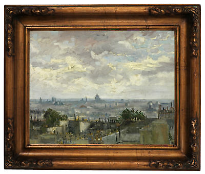 van Gogh View of Paris 1886 Wood Framed Canvas Print Repro 11x14