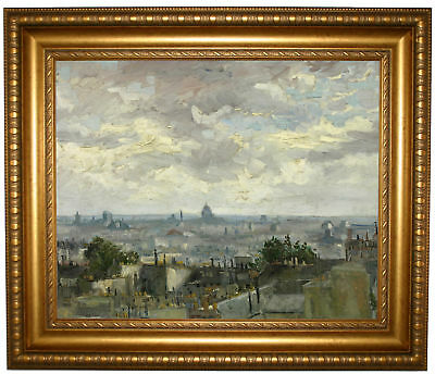 van Gogh View of Paris 1886 Framed Canvas Print Repro 16x20