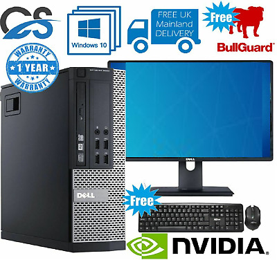 FAST GAMING DELL BUNDLE TOWER PC FULL SET COMPUTER SYSTEM INTEL i3 8GB RAM GT710