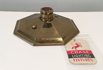 Chase Brass Chrome & Copper Vintage Art Deco Ceiling Light w Original Hang Tag