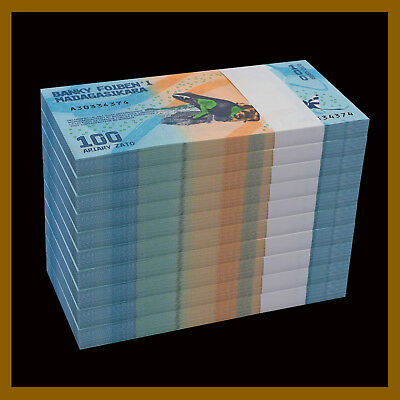 Madagascar 100 Ariary x 1000 Pcs Bundle (Brick), 2017 P-New Frog Colorful Unc