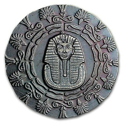 1 - 1/4 oz .999 Silver Round - Old World Style Egyptian King Tut with Pyramid