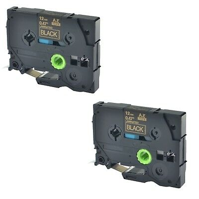 """2PK TZ-334 TZe-334 Gold on Black Label Tape For Brother P-Touch PT-1280VP 1/2"""""""
