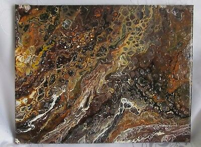 """ORIGINAL ACRYLIC PAINTING CANVAS ABSTRACT MODERN 11"""" x 14"""" HAND PAINTED BROWN"""