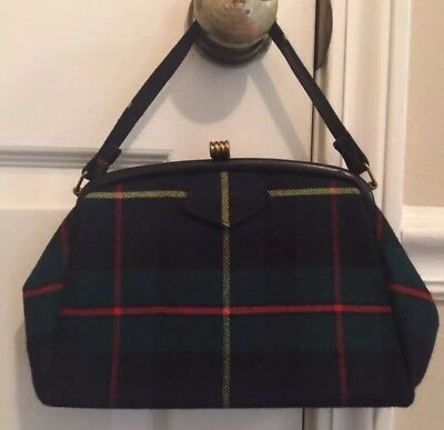 Wow VINTAGE 50s 60s WOOL Plaid Meyho Handbag Made In Scotland Great Shape!