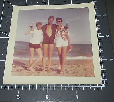"1961 HAVE A COKE Beach Family Coca Cola ""Homemade AD"" Vintage Snapshot PHOTO"