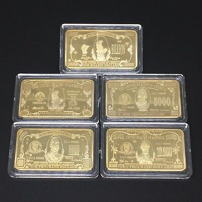 Wholesale Lot Of 5 Troy 1 Oz .999 Gold Clad Bar Gift In Case Dollar Bill Set