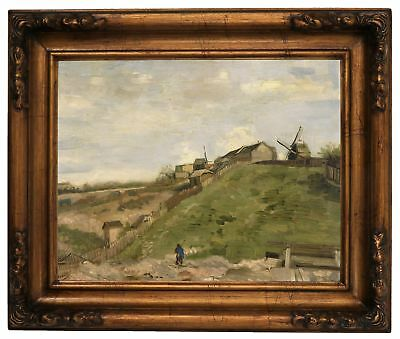 van Gogh The hill of Montmartre with quarry Wood Framed Canvas Print Repro 11x14