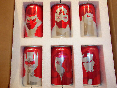 Coca Cola Marvel Avengers 6 Mini Coke Cans Limited EditionComplete Set New