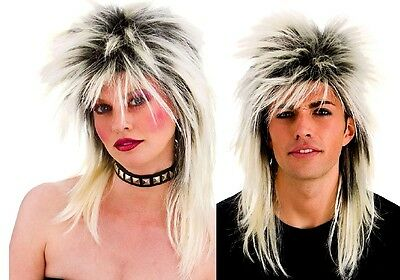 Unisex 80s ROCKER WITH BLONDE ROOTS 80's WIG Glam Rock Star Mullet Fancy Dress