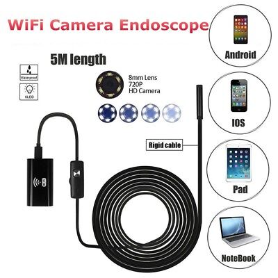 5M 8mm 6 LED Wireless Endoscope WiFi Borescope Inspection HD Camera For Iphone